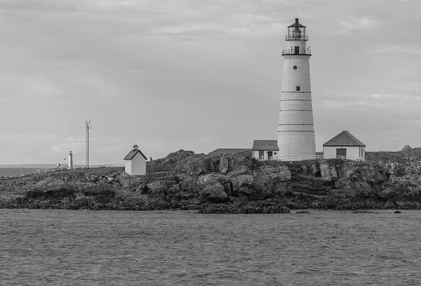 Photograph - Boston And Graves Lighthouses In Monochrome by Brian MacLean