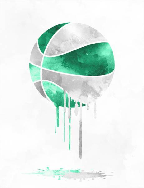 National Basketball Association Wall Art - Mixed Media - Boston Celtics Dripping Water Colors Pixel Art by Joe Hamilton
