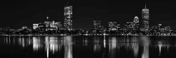 Photograph - Boston Charles River Panorama 8x24 Ratio Black And White by Toby McGuire
