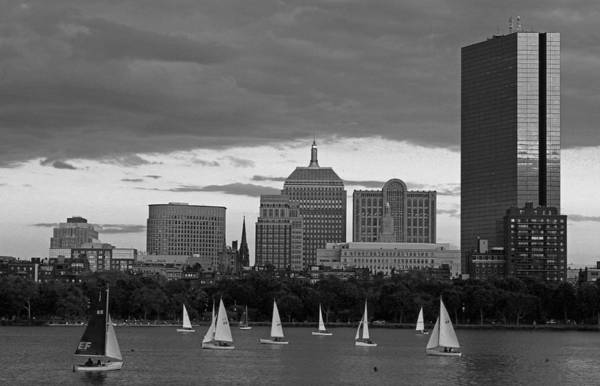 Photograph - Boston Charles River Skyline With Sailboats by Juergen Roth