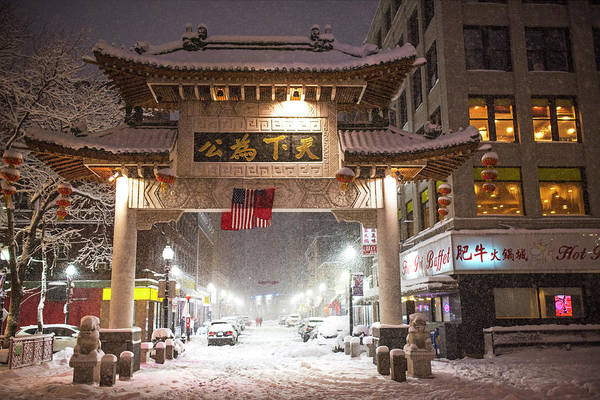 Photograph - Boston Chinatown Gate During Snowsstorm Skylar Boston Ma by Toby McGuire