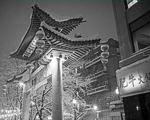 Photograph - Boston Chinatown Gate Snowstorm Black And White by Toby McGuire