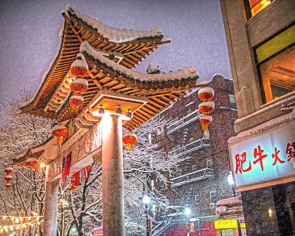 Photograph - Boston Chinatown Gate Snowstorm by Toby McGuire