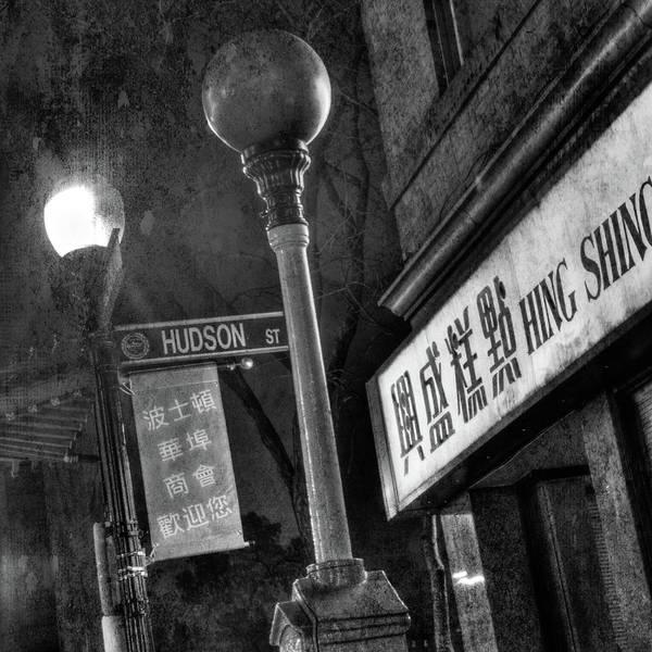 Photograph - Boston Chinatown Hudson St. Lamp Post - Urban Black And White by Joann Vitali
