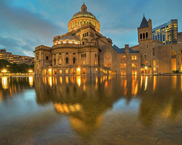 Photograph - Boston Christian Science Building Reflecting Pool by Toby McGuire