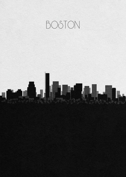 Boston Landmark Drawing - Boston Cityscape Art by Inspirowl Design