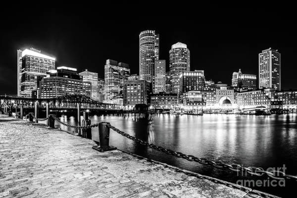 Wall Art - Photograph - Boston Cityscape At Night Black And White Photo  by Paul Velgos
