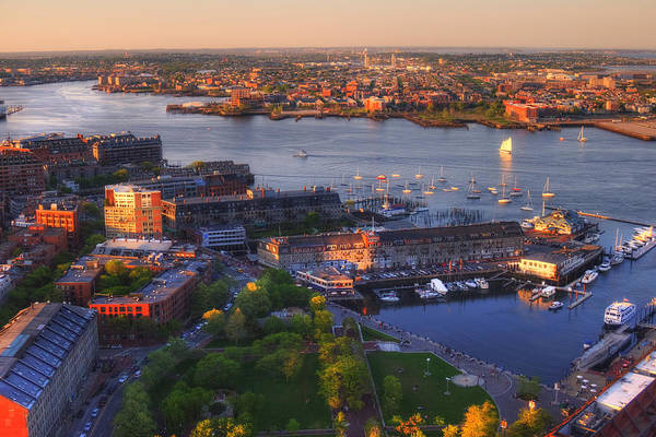 Photograph - Boston Cityscape - Boston Harbor And The North End by Joann Vitali