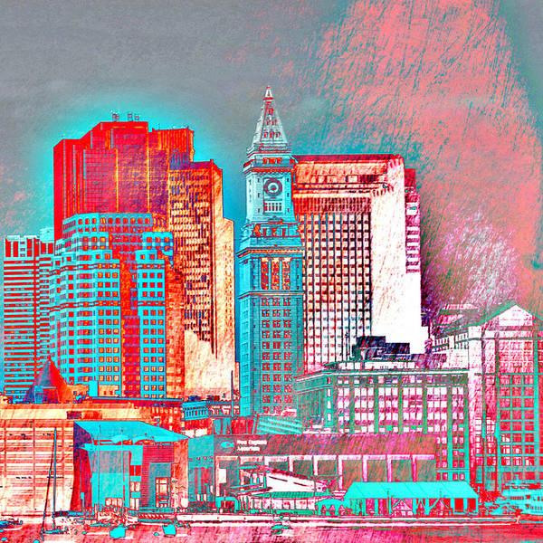 Town Square Digital Art - Boston Clock Tower V2 by Brandi Fitzgerald