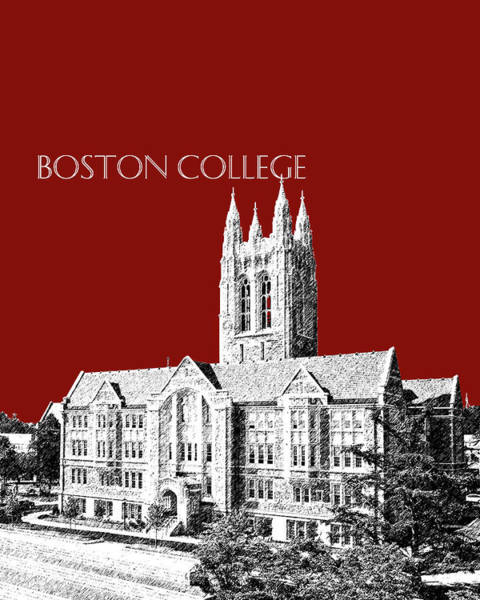 Graduation Digital Art - Boston College - Maroon by DB Artist