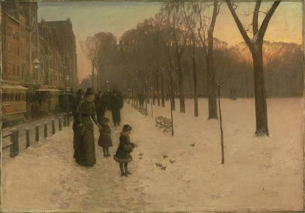 Wall Art - Painting - Boston Common At Twilight by Childe Hassam