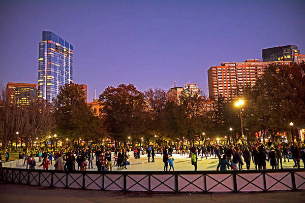 Photograph - Boston Common Frog Pond Ice Skating Rink Christmas Millennium Tower by Toby McGuire