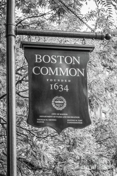 Banners Photograph - Boston Common Sign Black And White Photo by Paul Velgos