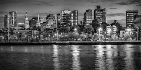 Boston North End Wall Art - Photograph - Boston Evening Skyline  - Monochrome Panorama by Melanie Viola