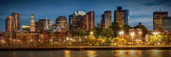 Wall Art - Photograph - Boston Evening Skyline Of North End And Financial District - Panoramic by Melanie Viola