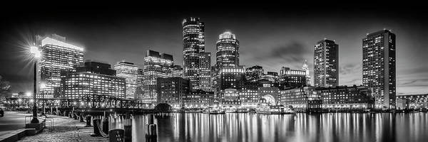 Wall Art - Photograph - Boston Fan Pier Park And Skyline In The Evening - Monochrome Panoramic by Melanie Viola