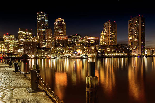 Wall Art - Photograph - Boston Fan Pier Park And Skyline At Night  by Melanie Viola