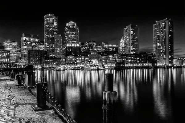 Wall Art - Photograph - Boston Fan Pier Park And Skyline At Night - Monochrome by Melanie Viola
