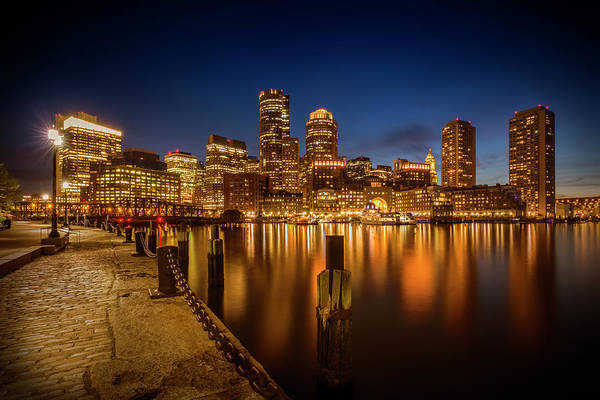 Wall Art - Photograph - Boston Fan Pier Park And Skyline In The Evening by Melanie Viola