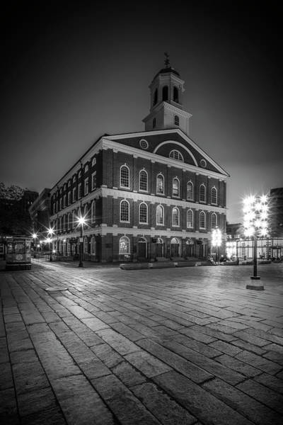 Wall Art - Photograph - Boston Faneuil Hall In The Evening - Monochrome by Melanie Viola