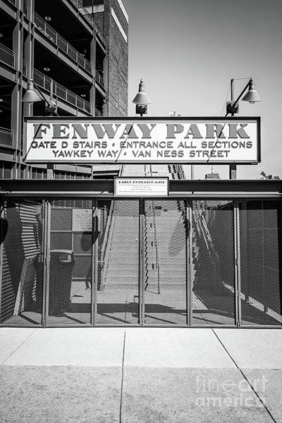 Wall Art - Photograph - Boston Fenway Park Sign Black And White Photo by Paul Velgos