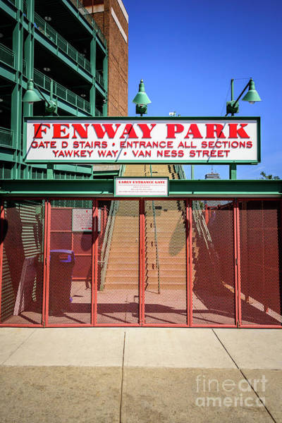 Wall Art - Photograph - Boston Fenway Park Sign Gate D Entrance by Paul Velgos