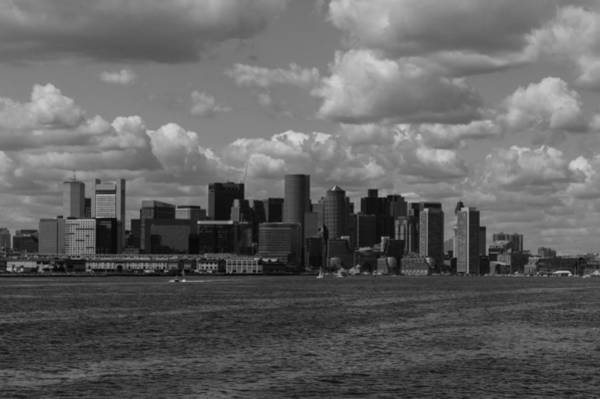 Photograph - Boston Financial District From The Commuter Ferry Black And White by Brian MacLean