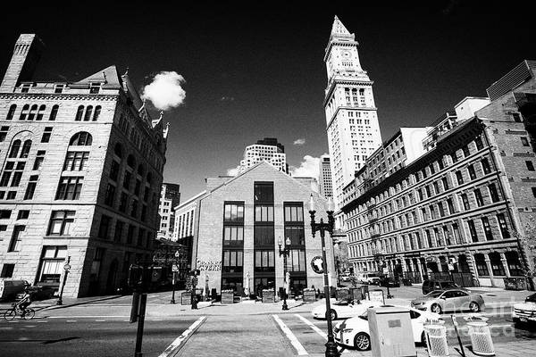 Wall Art - Photograph - boston grain and flour exchange, granary tavern and custom house tower downtown Boston USA by Joe Fox