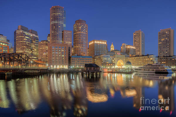 Photograph - Boston Harbor And Skyline Morning Twilight V by Clarence Holmes