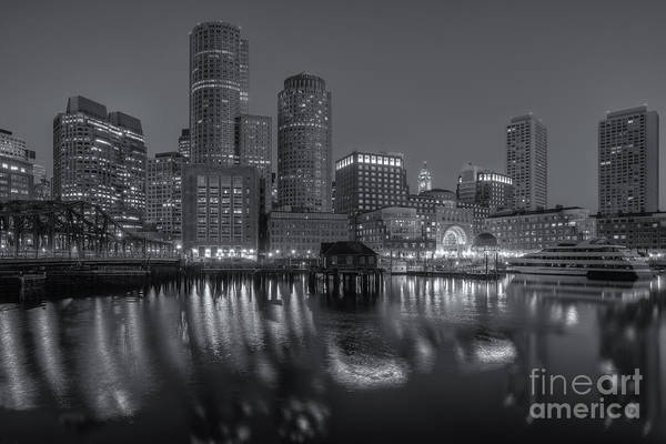 Photograph - Boston Harbor And Skyline Morning Twilight Vi by Clarence Holmes