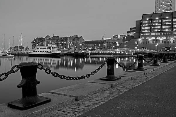 Photograph - Boston Harbor At Dusk Boston Ma Black And White by Toby McGuire
