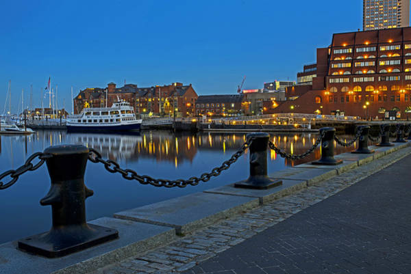Chain Link Photograph - Boston Harbor At Dusk Boston Ma by Toby McGuire