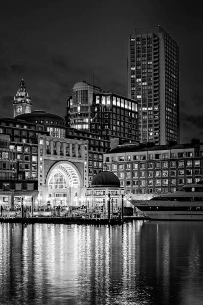 Photograph - Boston Harbor Bw by Susan Candelario