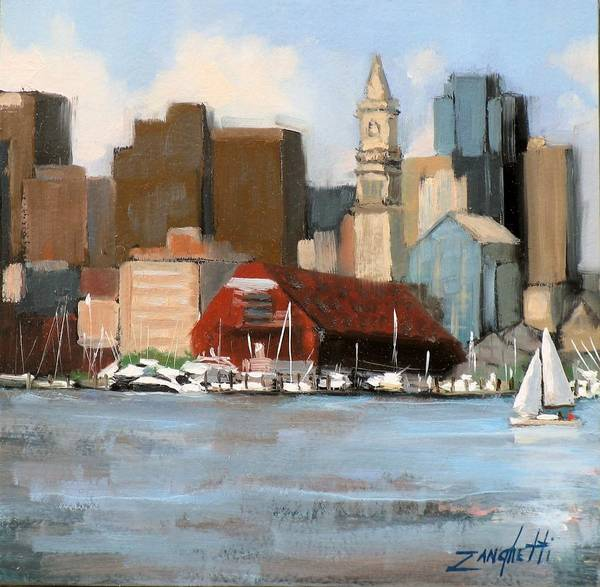 Ocean City Painting - Boston Harbor by Laura Lee Zanghetti