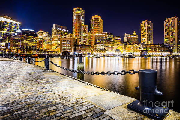 Chain Bridge Photograph - Boston Harbor Skyline At Night Picture by Paul Velgos