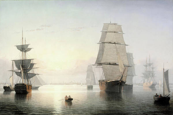 Painting - Boston Harbor Sunset By Fitz Henry Lane 1855 by Fitz Henry Lane