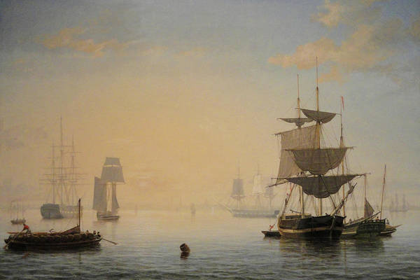 Painting - Boston Harbor With The City In The Distance By Fitz Henry Lane 1846 by Fitz Henry Lane