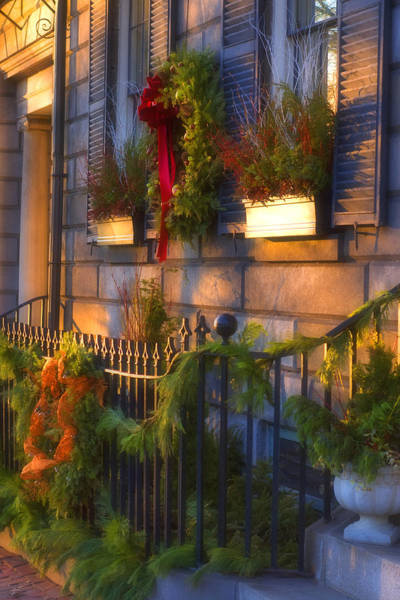 Photograph - Boston Holiday Doorstep by Joann Vitali