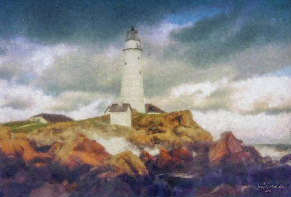 Boston Light On A Stormy Day Art Print