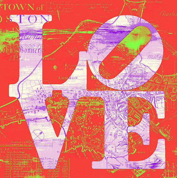 Town Square Digital Art - Boston Love V4 by Brandi Fitzgerald