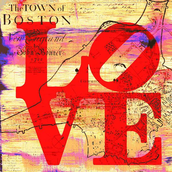Town Square Digital Art - Boston Love V5 by Brandi Fitzgerald