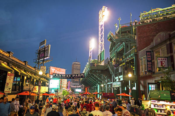 Photograph - Boston Ma Lansdowne St Fenway Park Game Night by Toby McGuire