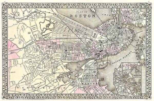 Drawing - Boston Massachusetts 1879 Map by Movie Poster Prints