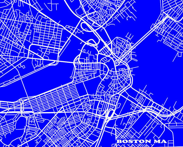 Keith Urban Wall Art - Photograph - Boston Massachusetts City Map Streets Art Print   by Keith Webber Jr