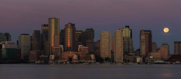 Photograph - Boston Moonset And Sunrise by Rob Davies