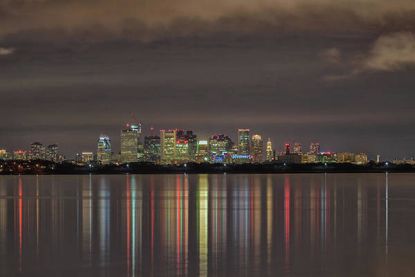 Photograph - Boston Night Light Reflections by Brian MacLean