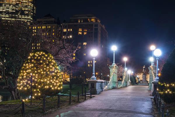 Photograph - Boston Public Garden Bridge Christmas Lights Hancock by Toby McGuire