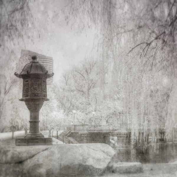 Photograph - Boston Public Garden Japanese Lantern - Black And White by Joann Vitali