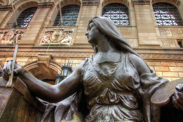 Photograph - Boston Public Library Lady Sculpture by Joann Vitali