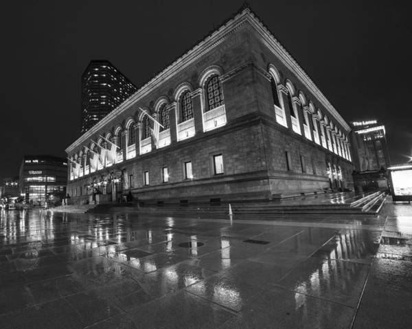 Photograph - Boston Public Library Rainy Night Boston Ma Black And White by Toby McGuire